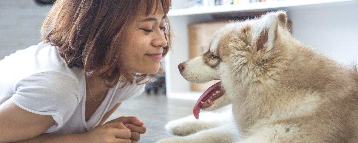 woman smiling at a dog