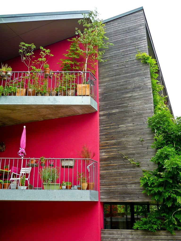pots and plans on balconies