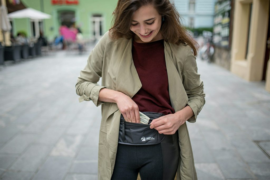 woman with a money belt