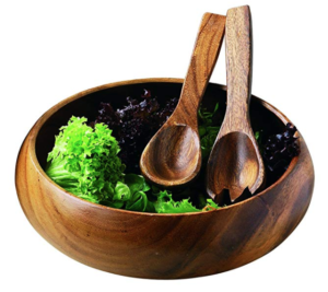Acacia Wood Round Salad Bowl for home cooking