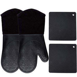 Silicone Oven Mitts and Pot holders 4-piece set