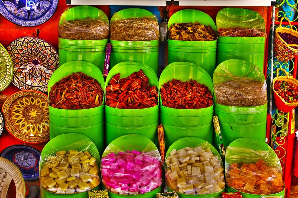 spices sold at a souk market in morocco