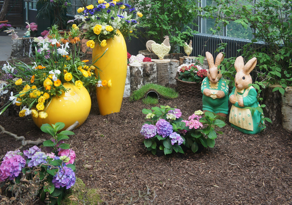 easter decorations in a patio