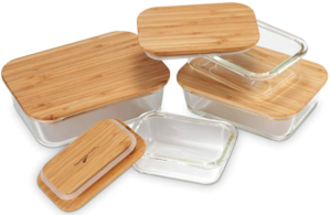 Glass Food Containers with Bamboo Tops