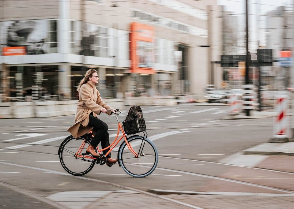 woman on a bicycle in the city