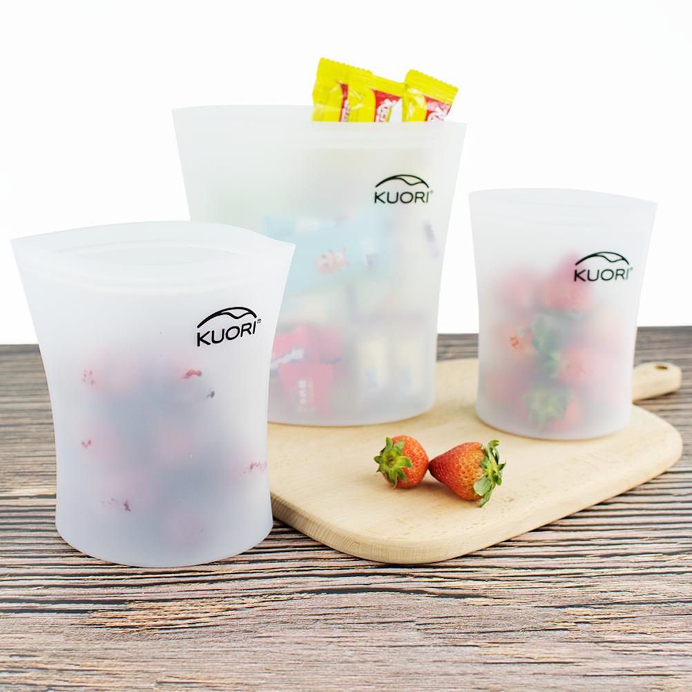 kuori silicone ziplock food bag - white