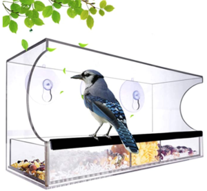Nature_Decor Large Acrylic Clear Window Bird Feeder with Removable Seed Tray