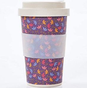 bamboo travel coffee cup - Purple Ditsy Doodle