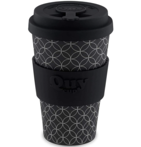 bamboo travel coffee cup - black with white patterns