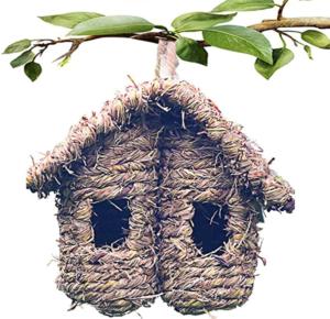 Hand-woven Grass Bird Nest Hut House Box