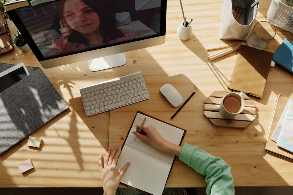 the fake commute - telecommuting - work from home on a desk