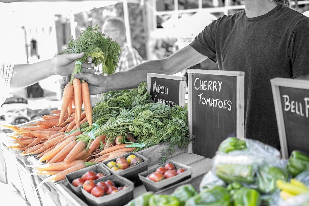 farm to table - vegetable stand at farmers market